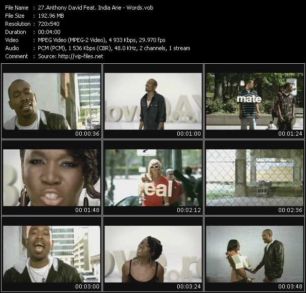 Screenshot of Music Video Anthony David Feat. India.Arie - Words