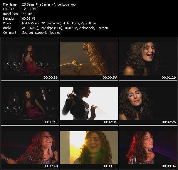 Screenshot of Music Video Samantha James - Angel Love