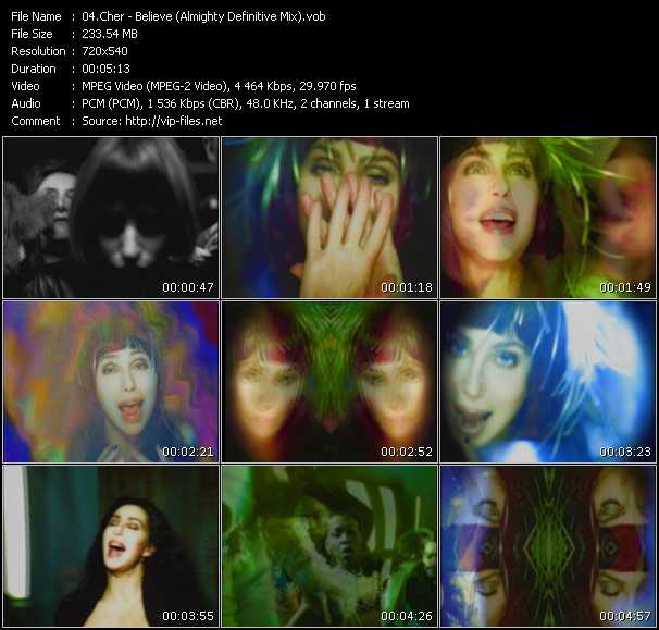 Screenshot of Music Video Cher - Believe (Almighty Definitive Mix)