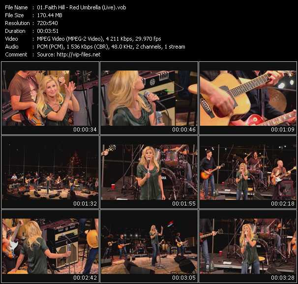 Screenshot of Music Video Faith Hill - Red Umbrella (Live)