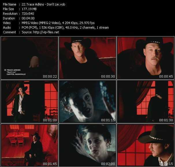 Screenshot of Music Video Trace Adkins - Don't Lie