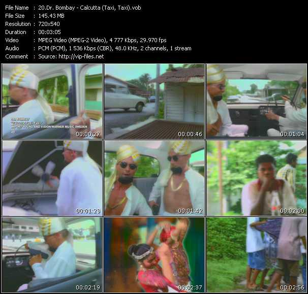 Screenshot of Music Video Dr. Bombay - Calcutta (Taxi, Taxi)