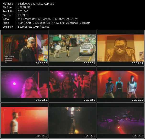 Screenshot of Music Video Blue Adonis - Disco Cop