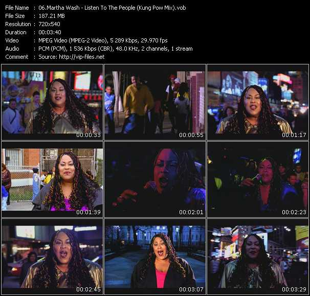 Screenshot of Music Video Martha Wash - Listen To The People (Kung Pow Mix)