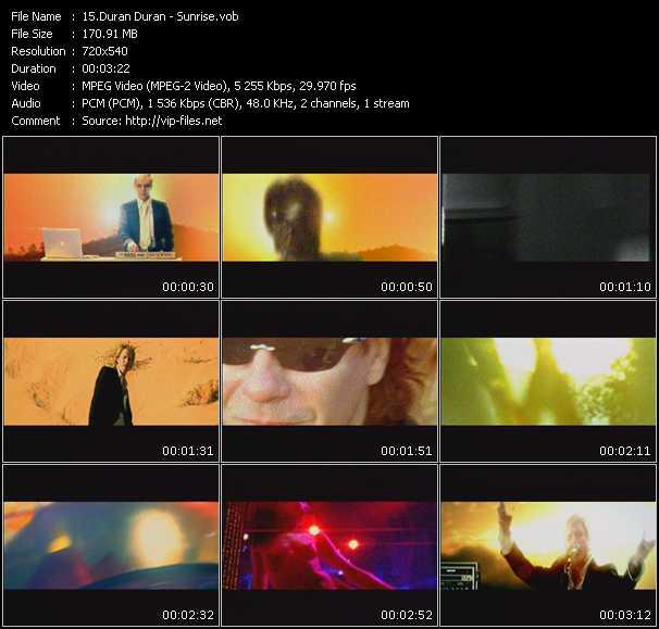 Screenshot of Music Video Duran Duran - Sunrise