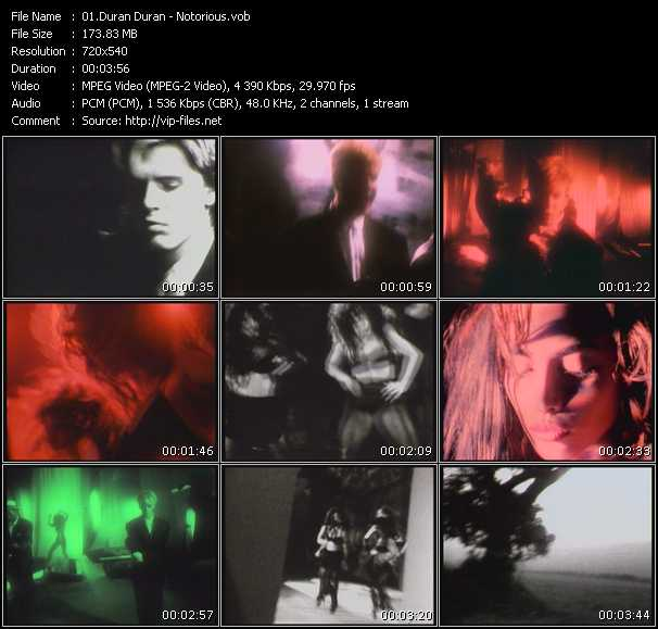 Screenshot of Music Video Duran Duran - Notorious