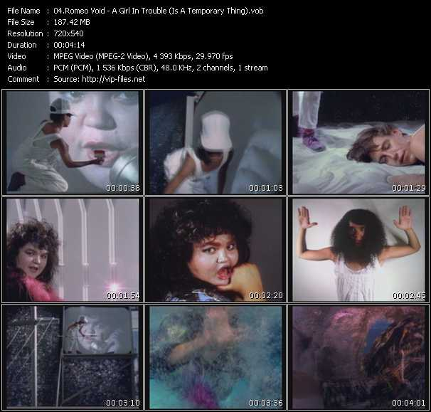 Screenshot of Music Video Romeo Void - A Girl In Trouble (Is A Temporary Thing)