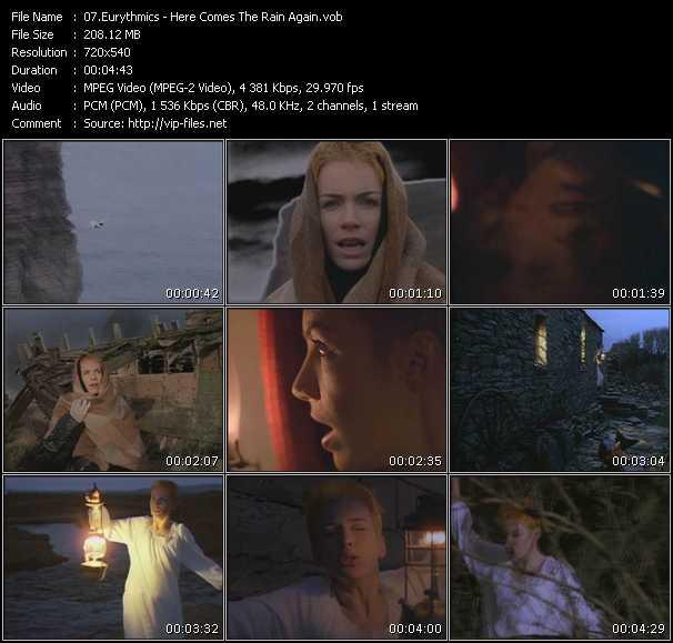 Screenshot of Music Video Eurythmics - Here Comes The Rain Again