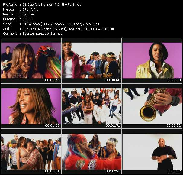 Screenshot of Music Video Que And Malaika - P In The Funk