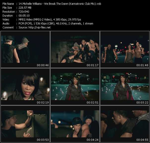 Screenshot of Music Video Michelle Williams - We Break The Dawn (Karmatronic Club Mix)