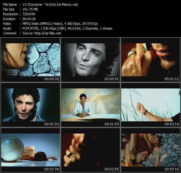 Screenshot of Music Video Chayanne - Te Echo De Menos