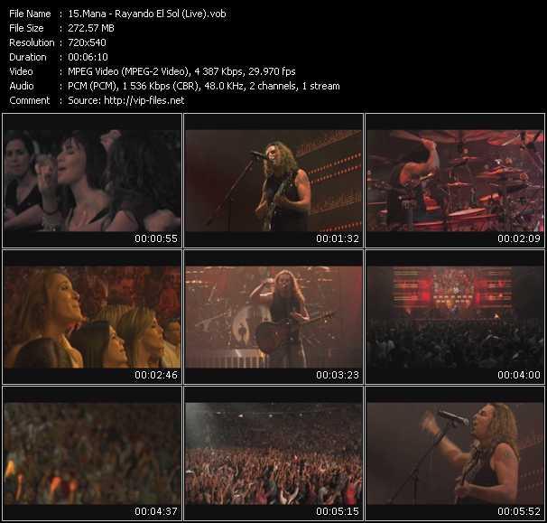 Screenshot of Music Video Mana - Rayando El Sol (Live)