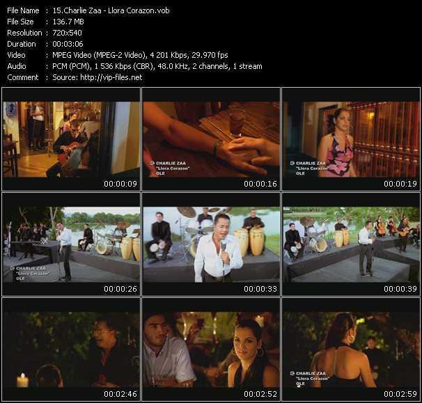 Screenshot of Music Video Charlie Zaa - Llora Corazon