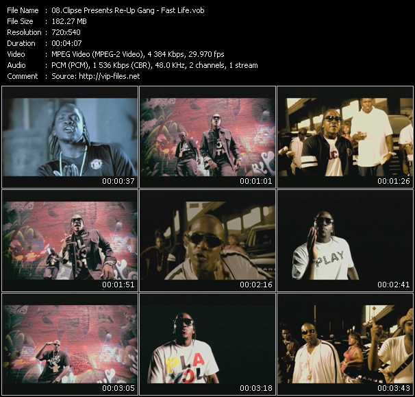 Screenshot of Music Video Clipse Presents Re-Up Gang - Fast Life