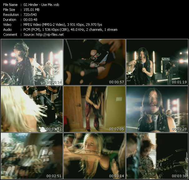 Screenshot of Music Video Hinder - Use Me