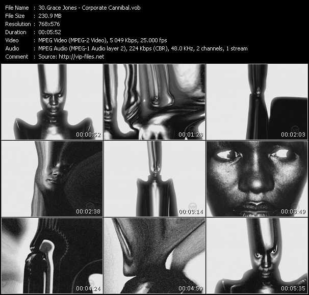 Screenshot of Music Video Grace Jones - Corporate Cannibal