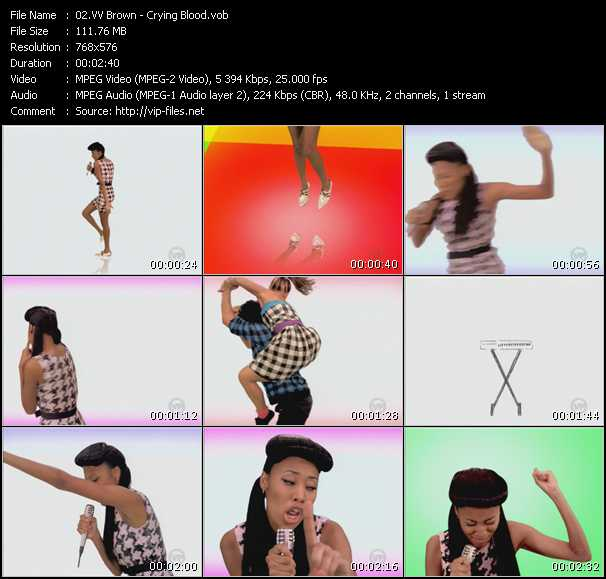 Screenshot of Music Video VV Brown - Crying Blood