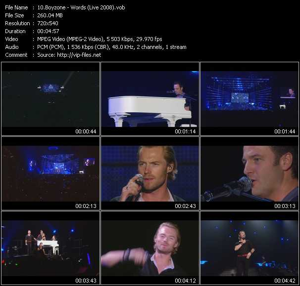 Screenshot of Music Video Boyzone - Words (Live 2008)