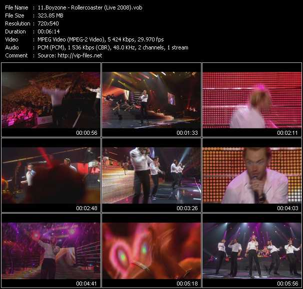 Screenshot of Music Video Boyzone - Rollercoaster (Live 2008)