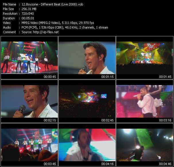 Screenshot of Music Video Boyzone - Different Beat (Live 2008)