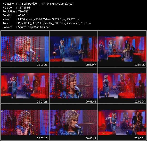 Screenshot of Music Video Beth Rowley - This Morning (Live ITV1)