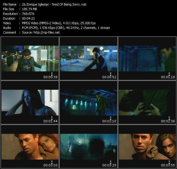 Screenshot of Music Video Enrique Iglesias - Tired Of Being Sorry