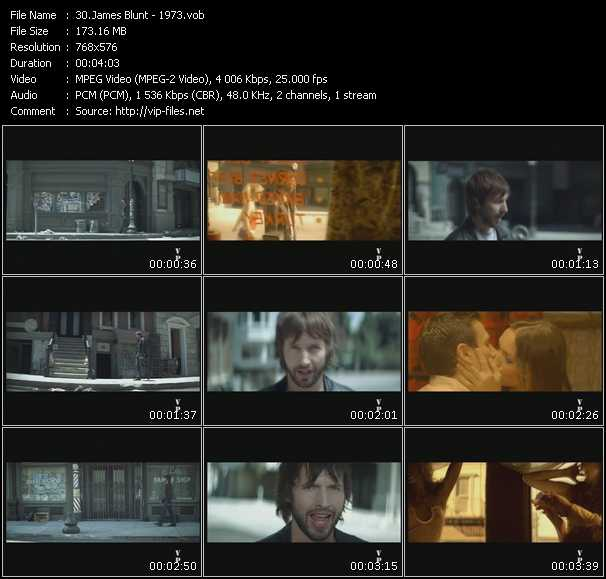 Screenshot of Music Video James Blunt - 1973