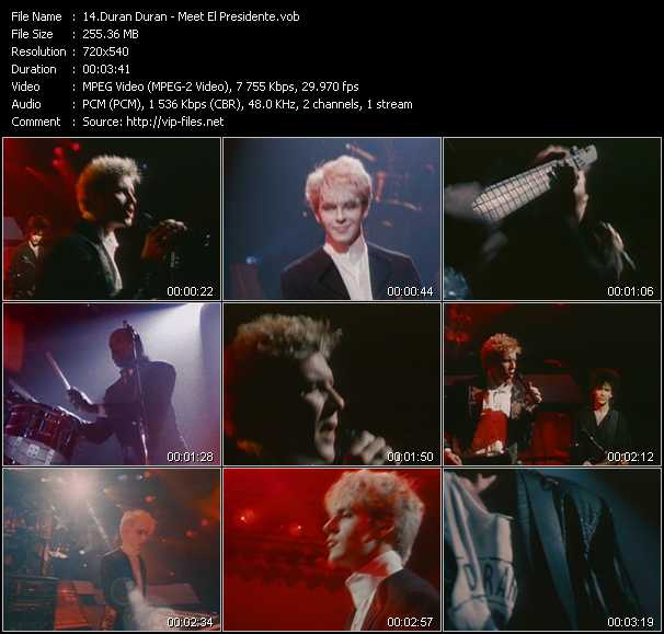 Screenshot of Music Video Duran Duran - Meet El Presidente