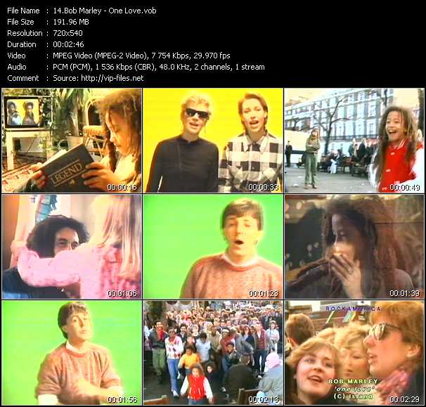 Screenshot of Music Video Bob Marley - One Love