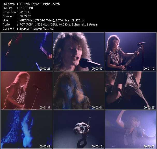 Screenshot of Music Video Andy Taylor - I Might Lie