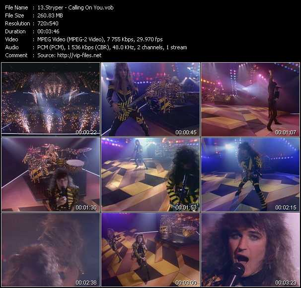 Screenshot of Music Video Stryper - Calling On You