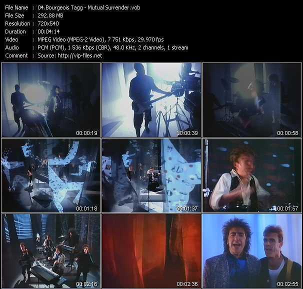 Screenshot of Music Video Bourgeois Tagg - Mutual Surrender