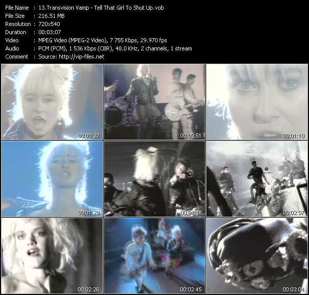 Screenshot of Music Video Transvision Vamp - Tell That Girl To Shut Up