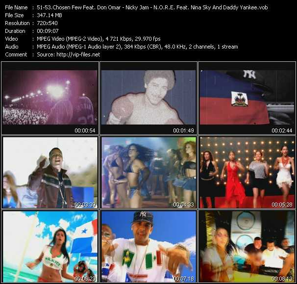 Screenshot of Music Video Chosen Few El Documental Feat. Don Omar - Nicky Jam - N.O.R.E. Feat. Nina Sky And Daddy Yankee - Reggaeton Latino - Chambonea - Oye Mi Canto
