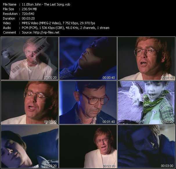 Screenshot of Music Video Elton John - The Last Song