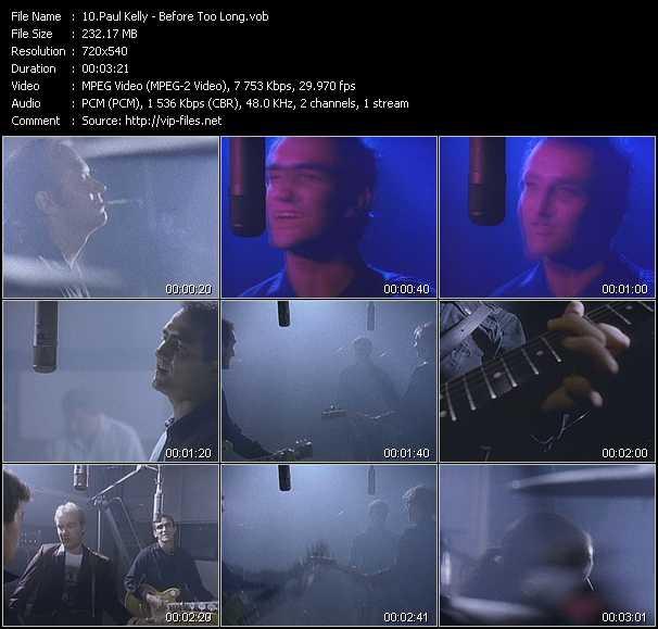 Screenshot of Music Video Paul Kelly - Before Too Long