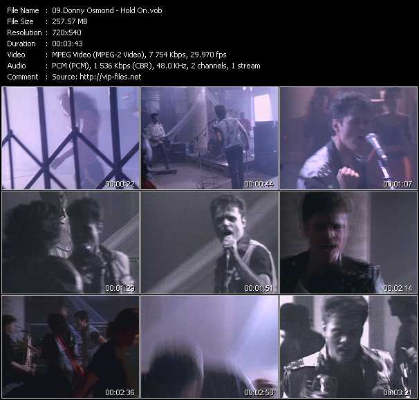 Screenshot of Music Video Donny Osmond - Hold On