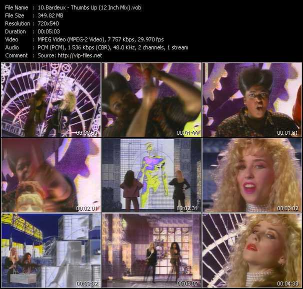 Screenshot of Music Video Bardeux - Thumbs Up (12 Inch Mix)