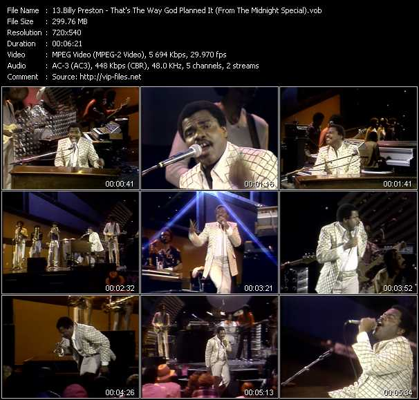 Screenshot of Music Video Billy Preston - That's The Way God Planned It (From The Midnight Special)