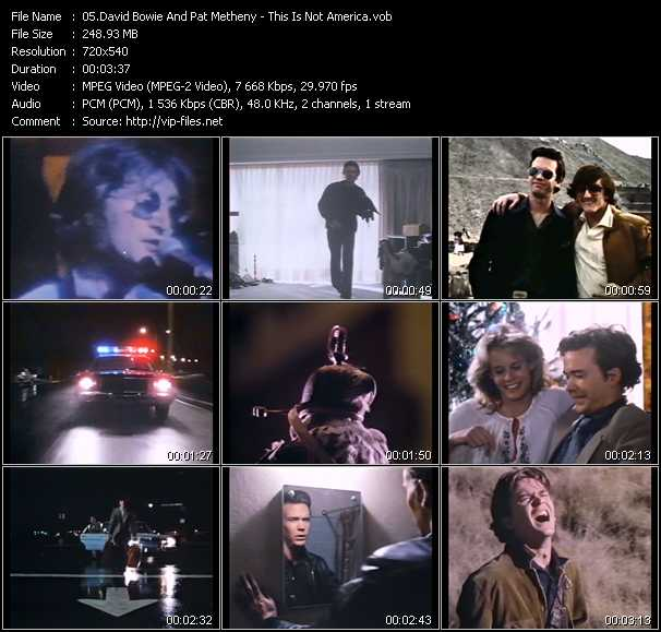 Screenshot of Music Video David Bowie And Pat Metheny - This Is Not America