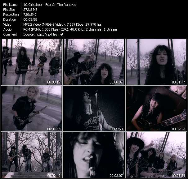 Screenshot of Music Video Girlschool - Fox On The Run