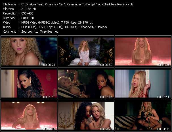 Screenshot of Music Video Shakira Feat. Rihanna - Can't Remember To Forget You (Starkillers Remix)