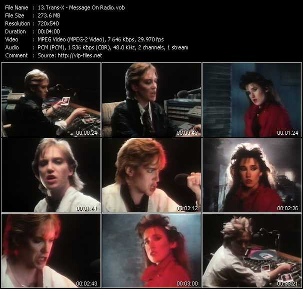 Screenshot of Music Video Trans-X - Message On Radio