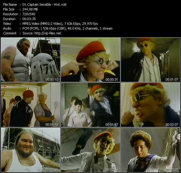 Screenshot of Music Video Captain Sensible - Wot