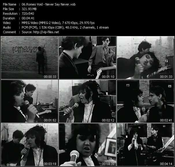 Screenshot of Music Video Romeo Void - Never Say Never