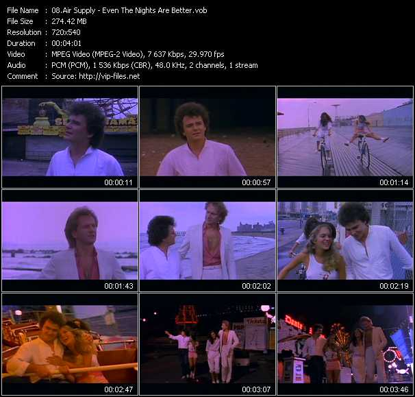 Screenshot of Music Video Air Supply - Even The Nights Are Better