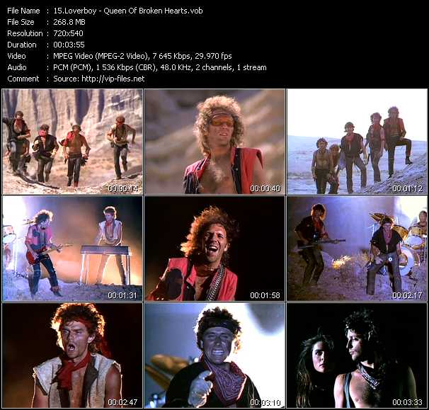 Screenshot of Music Video Loverboy - Queen Of Broken Hearts