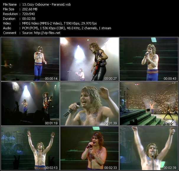Screenshot of Music Video Ozzy Osbourne - Paranoid