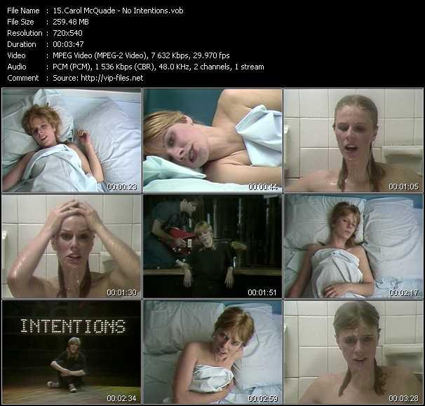 Screenshot of Music Video Carol McQuade - No Intentions