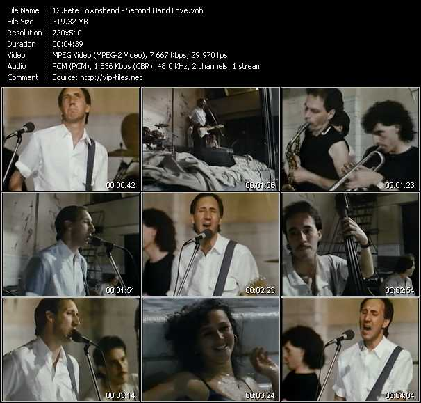 Screenshot of Music Video Pete Townshend - Second Hand Love